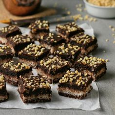 Triple decker chocolate coconut squares topped with smooth chocolate fudge. Refined sugar and gluten free! Sugar Free Chocolate, Chocolate Fudge, Coconut Squares Recipe, Delicious Desserts, Dessert Recipes, Gluten Free Recipes, Glutenfree, Sweet Treats, Sweets