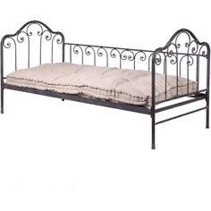 Cushioned Iron Day Bed ($540) ❤ liked on Polyvore featuring home, furniture, beds, interior, cama, iron day bed, antique white furniture, beige bed, ivory furniture and antique white bed