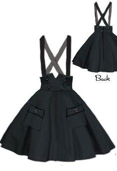 Circle Suspender Skirt by Amber Middaugh High quality Vintage maps Style of skirt (Kawaii Diy Clothes) Kawaii Fashion, Lolita Fashion, Cute Fashion, Trendy Fashion, Diy Fashion, Street Fashion, 1950s Fashion, Fashion Black, Cute Dresses