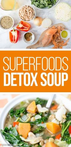 Superfoods Detox Soup: This soup is full of powerful superfoods that kickstart your metabolism and deliver tons of cleansing nutrients and fiber. Veggie Recipes, Lunch Recipes, Crockpot Recipes, Whole Food Recipes, Soup Recipes, Cooking Recipes, Healthy Recipes, Alkaline Recipes, Healthy Soups