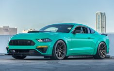 Download wallpapers Ford Mustang, 2018, Roush 729, tuning version, turquoise Mustang, American cars, Ford