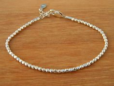 Sterling silver bracelet. Tiny silver bead bracelet. by Ziggat