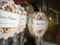 Baptism - Pink, burlap and brown.  Personalised lollipop.
