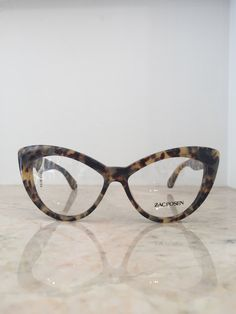 Zac Posen retro glam chunky tortoise cat eye glasses frames