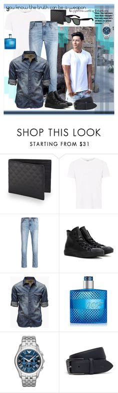"""""""You know the truth can be a weapon"""" by julyralewis ❤ liked on Polyvore featuring Emporio Armani, Topman, Converse, Jack & Jones, Lacoste, Ray-Ban, Mother, men's fashion and menswear"""