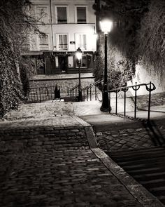 Montmartre Steps, Paris Photography, French Art Prints, Paris at Night, Chez Marie Black and White Montmartre Paris, Paris Black And White, Black And White Pictures, Paris Photography, Fine Art Photography, Belle France, Paris Decor, Old Paris, Extra Large Wall Art