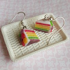 Rainbow layer cake polymer clay earrings, quirky whimsy jewelry, food cake earrings, gift idea for mother, sister, friend, BFF
