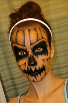 {Scary pumpkin makeup} #halloween #jackolantern