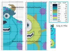 Monsters, Inc. bookmark pattern - Perline&Crocette
