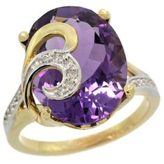 14k Gold Amethyst Engagement Ring - This Elegant Purple 14k Gold Amethyst Engagement Ring is crafted from Solid 14 Karat Gold & set with Lovely Diamonds & a Precious Gem. This ring is stamped in 14k Yellow gold with a total gem weight of 7.53 carats in a prong setting. The rings width is 16 mm with the number of stones equaling to 19. All stones are natural & not-treated. #unusualengagementrings