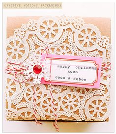 Craft paper and doily gift wrap