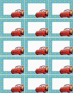 Adhesivos útiles escolares Printable Name Tags, Printable Labels, Car Themed Parties, Cars Birthday Parties, Diy Craft Projects, Diy And Crafts, Crafts For Kids, Notebook Labels, Cars Invitation