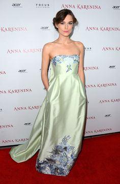 Keira Knightley in Erdem- simply stunning dress, and she styled it beautifully, and I am so not a fan of pastels, strapless, or maxi dresses.