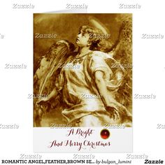 ROMANTIC ANGEL,FEATHER,BROWN SEPIA WHITE Christmas Card #xmas #archangelgabriel #fineart #spiritual #beauty #angels