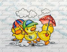Ducklings In The Rain  Digital Stamp by Sasayaki Glitter