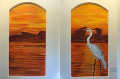 """The Great Egret Mural   2 @ 36"""" x 72""""  across two wall   Location: Private residence  See a video of this mural being painted at: http://tomperkowitz.com/site/egret-video.html"""