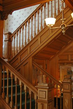 The main house stairway inside the White Lace Inn, a B & B located in Sturgeon Bay, WI, Door County. Call 920-743-1105 for reservations.