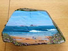 Couple on beach, acrylic on slate doorstop Doorstop, Slate, Paintings, Couple, Crafty, Beach, Ideas, Art, Art Background