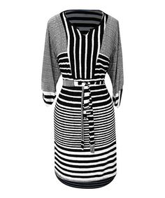 Look what I found on #zulily! Black & White Stripe Dolman Dress #zulilyfinds