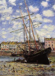 """""""Boat at Low Tide at Fecamp"""" by Claude Monet Completion Date: 1881, Style: Impressionism."""