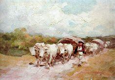 Car cu patru boi - Nicolae Grigorescu Bull Cow, Human Pictures, Fun Illustration, Romanian People, Pointillism, Vintage Wall Art, Pet Birds, New Art, Art History