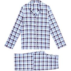 Derek Rose Ranga Blue Check Pyjama Set (265 BRL) ❤ liked on Polyvore featuring intimates, sleepwear, pajamas, blue, cotton pajamas, long sleeve pajama set, cotton sleepwear, blue pajamas and cotton pajama set