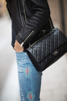 Leather jacket, denim and Chanel bag