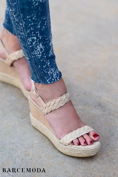 Looking for comfortable wedge sandals? Comfortable platform suede wedges with ankle strap and adjustable gold buckle. Pretty espadrille bottom and braided straps for extra trendy fashion. Unbelievably lightweight and comfort beyond expectations. We use premium suede, leather and cork, which are nothing short of the best, on all our lady wedge sandals. Handcrafted with utmost skills #wedges #espadrille #espadrillewedge #wedgesandal  #barcemoda Wedge Sandals, Wedge Shoes, Summer Sandals, Leather Wedges, Suede Leather, Wedges Outfit, Trendy Summer Outfits, Our Lady, Types Of Shoes