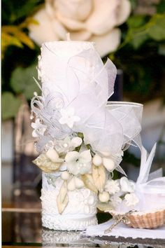 Rosario something like this would be great ... ...i love the lace n flower colors n the sea shell Baptism