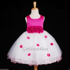 Fuchsia/Hot Pink Pageant Party Bridal Flower Girl Dress 6-12M 18M 2 4 6 8 10