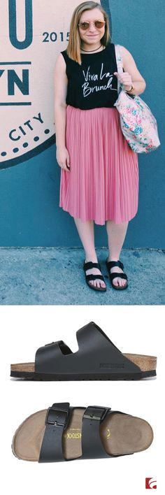 Celebrate classic summer style in the Birkenstock Arizona Footbed Sandal. Julia of @littlepieceofchic pairs her sandals with a feminine pink skirt for an afternoon of shopping in New York City. The Arizona Footbed Sandal offers exceptional comfort through twin adjustable straps, shock-absorbing outsole, and synthetic leather-like finish.