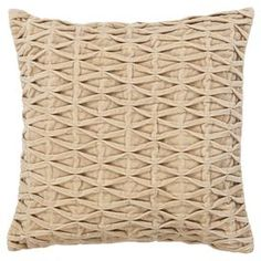 """Handcrafted cotton-wool pillow in beige with a rouched cover and duck feather fill.   Product: PillowConstruction Material: Cotton-wool blend cover and duck feather fillColor: BeigeFeatures:  Insert includedHandcraftedContemporary design Dimensions: 18"""" x 18""""Cleaning and Care: Professional cleaning recommended"""