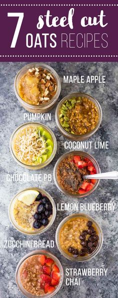 7 healthy steel cut oats recipes: make these guys in the Crock Pot, Instant Pot or on your stove top! Steel cut oats are easy to meal prep ahead and store in your fridge and freezer for an effortless breakfast during the week.