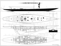 Sparkman & Stephens: Design 77B - J-Class Racing Yacht Cheveyo