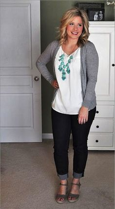 I need a classic white or neutral shirt like this to wear under sweaters, blazers, etc.