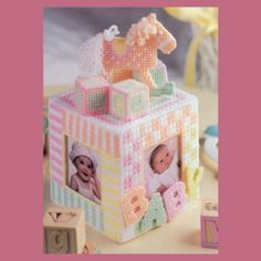 Leisure arts offer a plastic canvas rocking horse photo cube gift for new parents, new moms and grandparents. Plastic Canvas Tissue Boxes, Plastic Canvas Crafts, Plastic Canvas Patterns, Plastic Board, Photo Cubes, Canvas Designs, Canvas Ideas, Sport Weight Yarn, Horse Photos