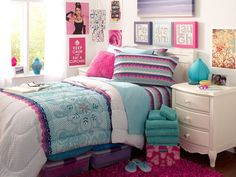 Lovely Teenage Girl Bedroom Decorating Idea with Beautiful Comforter and Pillows Motives and Vintage White Bedside Tables and Pink Shag Rug also White Wall Paint Color and Girly Wall Decorations