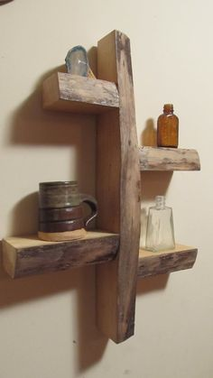 rustic shelves Man we can make this for your Men's Town, Bob. Maybe the shelf's could be a little longer but we have plenty of the wood. Rustic Shelves, Wall Shelves, Wood Shelf, Wooden Shelves, Display Shelves, Deco Cool, Deco Originale, Into The Woods, Log Furniture