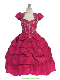 Price: $320.00 $242.00   Product Information  •	Crystal and sequins pick up girl dress with bolero  •	Matching bolero included •	Adjustable lace up corset back tie •	Extra netting underneath for more volume •	Ankle to floor length •	Made in USA  http://www.wonderfuldress.com/