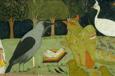 Kakbhushundi and Garuda. Detail.    Location: Sarwar, Ajmer District, Rajasthan, India Date: ca 1755 CE. Style: Rajput, Rajasthani, Ajmer, Sawar school. Kakbhushundi is one of the sages of the Ramcharitmanas, who converses with Garuda and thereby reveals the narrative.