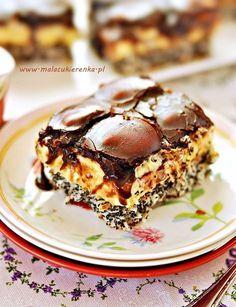 Pychotka kokosowo – makowa z polewą czekoladową Vegan Sweets, Sweets Recipes, Cooking Recipes, Sweet Desserts, No Bake Desserts, Potica Bread Recipe, Polish Desserts, Easy Blueberry Muffins, Homemade Cakes