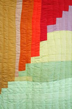 Close up of a Gee's Bend quilt--bricklayer variation