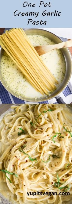 One pot creamy garlic pasta that tastes like a vegan fettuccine alfredo and all cooks together in one pan! Easy nut-free recipe.