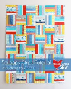 I love figuring out and making tricky quilts but sometimes I just want to not use my brain and sew!  This is a super quick and easy quilt, a great scrap buster…and you can make it with very little bra