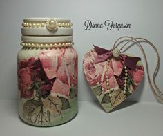 Upcycled Shabby Chic Jar and Mdf Heart. #decoupage