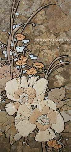 autumn garden relief mosaic 900h420 Sayanogorsk 2014 Easel mosaic - Sergey Karlov