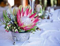 """Madiba"" King Protea named after Nelson Mandela Protea Bouquet, Protea Flower, Floral Bouquets, Wedding Table Decorations, Centerpiece Decorations, Wedding Centerpieces, Protea Centerpiece, Centrepieces, Water Centerpieces"