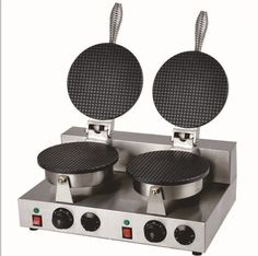 118.00$  Buy here - http://ali1i3.worldwells.pw/go.php?t=32353201324 - electric 110v/220V  Double bakers commercial round thin waffle maker _waffle cone iron 118.00$