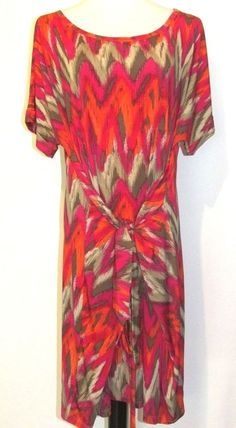 Michael Kors Size 3X Pink Orange Tie Front Jersey Wrap Dress Short Sleeves  #MichaelKors #SheathWrapDress