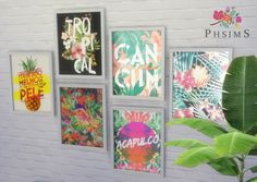 My first base game recolor YAY! :) TROPICAL wall art non-default ♥ EA mesh recolored by me with Sims4Studio. Arts from UrbanArts and Society6. Hope you like ;) DOWNLOAD